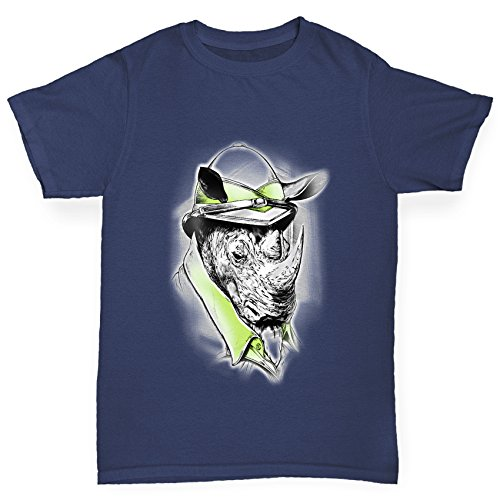 Twisted Envy Boy's Safari Rhino Cotton T-Shirt, Comfortable and Soft Classic Tee with Unique Design Age 5-6 Navy by TWISTED ENVY