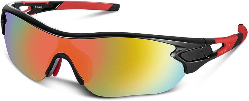 Bea Cool Gafas de Sol polarizadas Deportivas para Hombres, Mujeres, jóvenes, béisbol, Ciclismo, Correr, Conducir, Pescar, Golf, Motocicleta, TAC, Gafas (Negro Rojo): Amazon.es: Deportes y aire libre