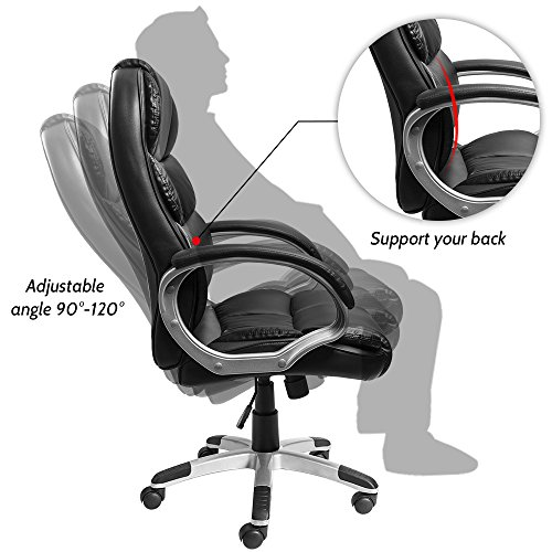 Furmax High Back Office Chair PU Leather Executive Desk Chair with Padded Armrests,Adjustable Ergonomic Swivel Task Chair with Lumbar Support(Black) by Furmax (Image #4)