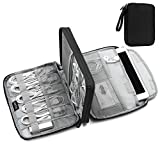 baona Electronic Organizer, Double Layer Travel Gadget Bag for Various USB Cable, Earphone Wire, SD Card, Hard Drive, Power Bank, iPhone and Ipad Mini (up to 7.9'') -Black