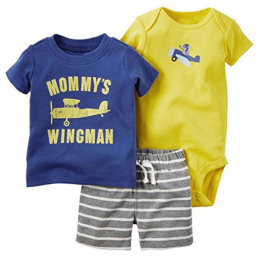 Evelin LEE Baby Boys Cotton Shirt Overall Shorts Outfits Set Stripe