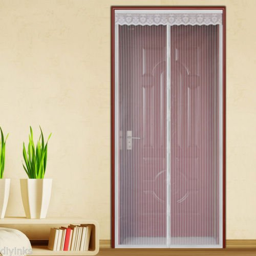 White Hands Free Auto Mesh Screen Net Door with Magnets Anti Mosquito Bug ()