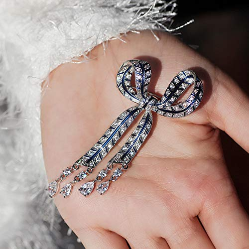 YYOGG Brooch Clothing Bow Tassel Crystal Brooch Pin Necklace Double Female
