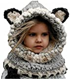 HBMaida Baby Kids Warm Winter Hat Crochet Knitted Caps Hood Scarves Beanies