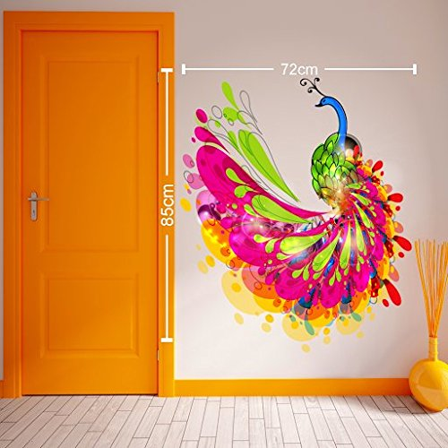 Buy destudio abstract peacock wall sticker pvc vinyl 85 cm x 72 cm online at low prices in india amazon in