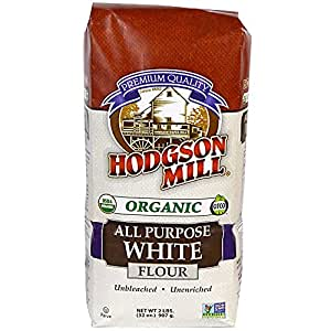 Hodgson Mill Organic All-Purpose White Flour, Unbleached, 2 LB (Pack of 6). Unbromated & Unenriched Naturally White Wheat Flour (Packaging May Vary)