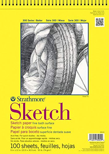 Strathmore 300 Series Sketch Pad, 11''x14'', White, 100 Sheets by Strathmore