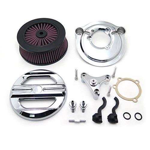 HTT Group Motorcycle Chrome Skull Grille Air Cleaner Intake Filter System Kit For Harley Davidson 2007-later XL Sportster 1200 Nightster 883 XL883 Low XL1200L Seventy Two Forty ()
