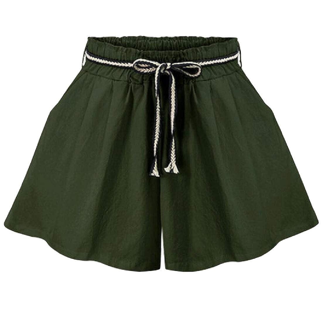 Sayhi Womens Elastic Waist Culottes Plus Size Wide Leg Short Pants