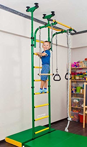 Comet 5: Childrens Indoor Home Gym (Swedish Wall) – Playground Set for Kids with Gymnastic Rings, Rope, and Trapeze Bar. Suit for Gyms, Schools and Kids Room