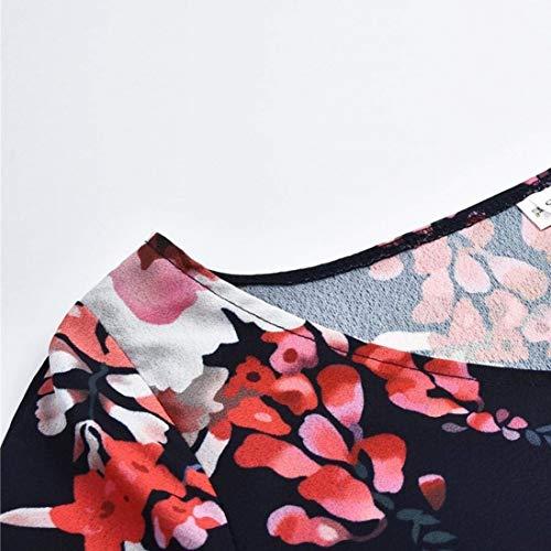 con de Liquidación Color X Impresa Mujeres de Large de en Vestido Vestido Las Navy 3 Manga Mini 4 Cuello v tamaño Boho Verano Haokan BqIEndI