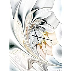 Designart White Stained Glass Floral Art Wall Art Design Modern & Contemporary Circle Wall Decorative Clock - Home Decorations for Home, Living Room, Bedroom, Office Decoration Round Metal Wall Clock