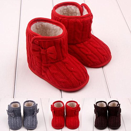 Gotd Baby Girl Boys Bowknot Snow Boots Soft Sole Prewalker Shoes 3-6 Months, Red