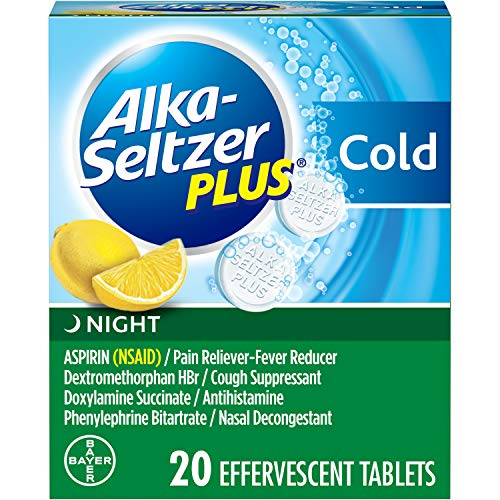Alka-Seltzer Plus Night Cold Medicine, Lemon Effervescent Tablets with Pain Reliever/Fever Reducer, Lemon, 20 Count