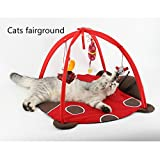 Zhahender Cat Toys for Indoor Cats Mat Pet Kitten Bed with Hanging Toy Balls and Mice Foldable Multifunction Fashionable Super Cute Mat Cat Tent Hammock Gift for Pet-Lovers Comfortable Cat Dog Bed