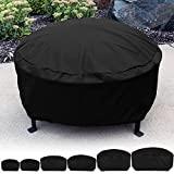 Sunnydaze Round Durable Black Fire Pit Cover, Size Options Available