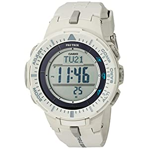 Casio Men's 'ProTrek Triple Sensor' Quartz Resin Watch, Color White (Model: PRG-300-8CR)