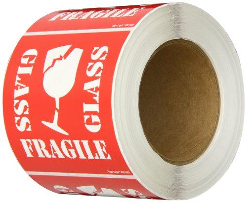 "Tape Logic DL1282 Shipping and Handling Label, Legend ""GLASS"