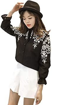 PU camiseta de mujer Tops manga larga linterna bordado floral camisas cuello alto camisetas (negro),A,: Amazon.es: Bricolaje y herramientas