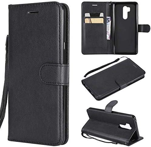LG G7 ケース手帳型 OMATENTI レザー 革 薄型 手帳型カバー カード入れ スタンド機能 エルジー LG G7 おしゃれ 手帳ケース (2-ブラック)