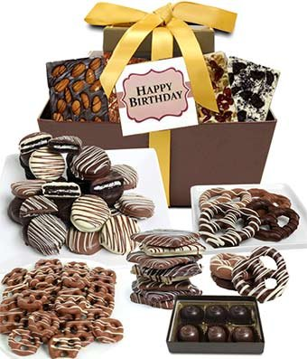 From You Flowers - HAPPY BIRTHDAY Chocolate Gift Tower (24 Pieces) - Chocolate Fruit Flowers