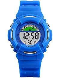 Boys Digital Watches for Kids with Reminder Alarms - Stainless Steel Back and Buckle, Blue / 50M Waterproof