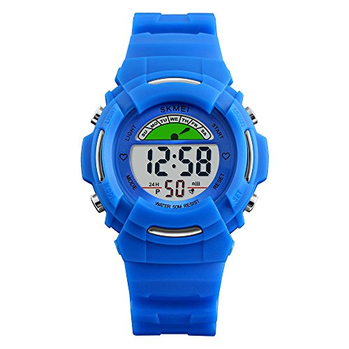 Boys Digital Watches for Kids with Reminder Alarms – Stainless Steel Back and Buckle, Blue / 50M Waterproof