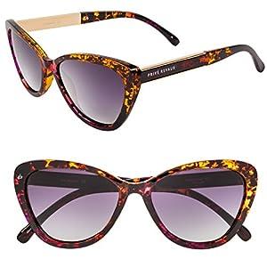 "PRIVÉ REVAUX ICON Collection ""The Hepburn"" Handcrafted Designer Polarized Retro Cat-Eye Sunglasses (Purple Tortoise)"