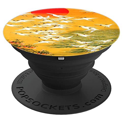 Japanese Crane Vintage Woodblock Hokusai Print - PopSockets Grip and Stand for Phones and Tablets