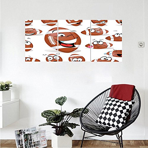 Liguo88 Custom canvas Sports Decor Collection Rugby Ball With Many Expressions Bored Laughing Happy Smiley Jokey Bedroom Living Room Wall (Home Rugby Shirt Collection)