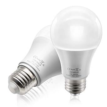 BeiLan 2x LED E27 Bombilla de tornillo 9W 850LM 6500K Luz de día, blanco,