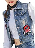 Esast Womens Button Classic Fashional Slim Fitted Sexy Ripped Hole Cotton Denim Vest Photo Color M