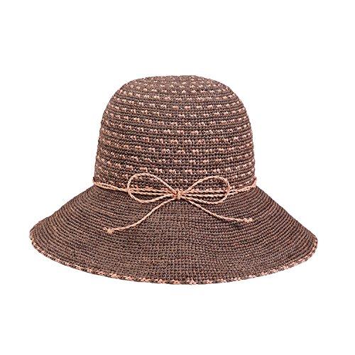 Women Sun hat Summer Handmade Crochet Along Sunshade can be Folded Beach hat,Pink Between Camel,M (56-58cm) (Handmade Folded)
