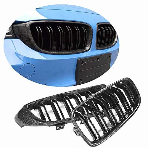 (MCARCAR KIT Fits BMW F32 F33 F80 M3 F82 F83 M4 428i 430i 435i 440i 2014-2018 Factory Carbon Fiber Front Grill Kidney Grille Trim Frame Decoration Emblem (with Gloss Black ABS Grid))