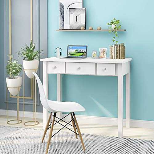 Home Office Small Writing Desk With Drawers Bedroom Study Table For Adults Student Vanity Makeup Dressing Table Save Space Gifts White White Pricepulse