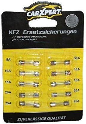 Feinsicherungen Sicherungen Glassicherungen Kfz 10 Stück 10x20mm 1x 5a 2x 10a 2x 15a 2x 20a 2x25a 1x30a B2 Auto