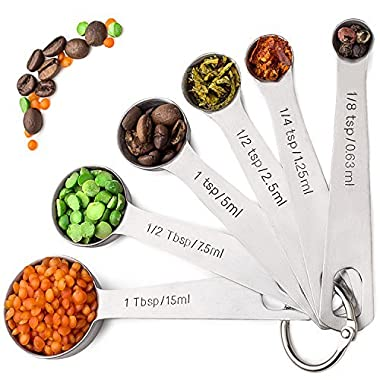 Palada 430 Stainless Steel Measuring Spoons, All in One Set of 7 Professional Spoons, Engraved, Cute Stainless Ring Holder, Best Metal. For Dry and Liquid Ingredients. EBook - 10000 Recipes Included