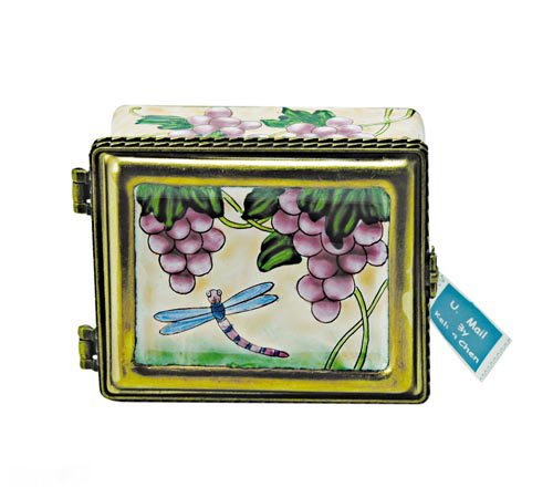 Kelvin Chen Postage Stamp Holder - Dragonfly and Grapes