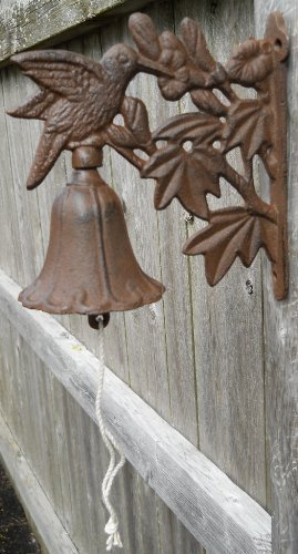 Cast Iron Hummingbird Dinner Bell Yard Art Wall Hanging Garden by UD by UD
