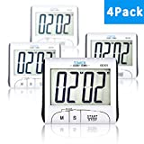 4 Pack Senbowe™ Digital Kitchen Timer/ Cooking Timer with Large Display Screen, Loud Sounding Alarm, Strong Magnetic Backing, Retractable Stand