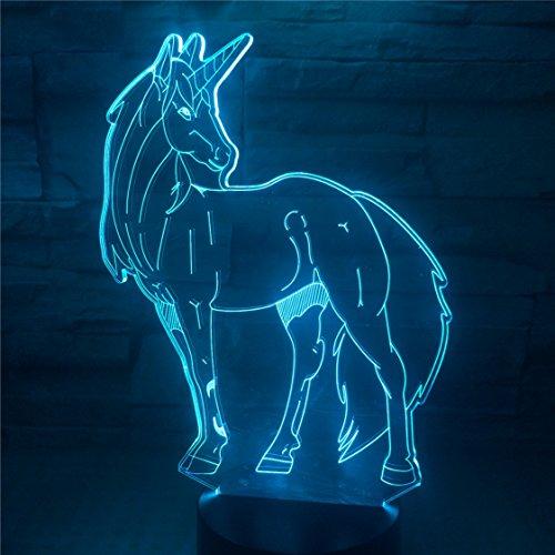 3D Unicorn Night Light Iceye Decor USB Charger Multicolor Led Transparent Acrylic Unicorn Silhouette for Giirl - Silhouette Transparent