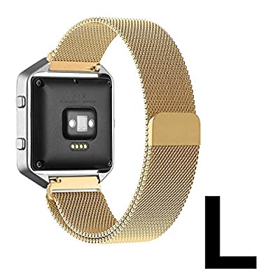 """Fitbit Blaze Accessories Band Large, UMTele Plexus Milanese Loop Stainless Steel Mesh Bracelet Replacement Strap Band with Unique Magnet Lock for Fitbit Blaze Smart Fitness Watch Gold (6.1""""-9.3"""")"""