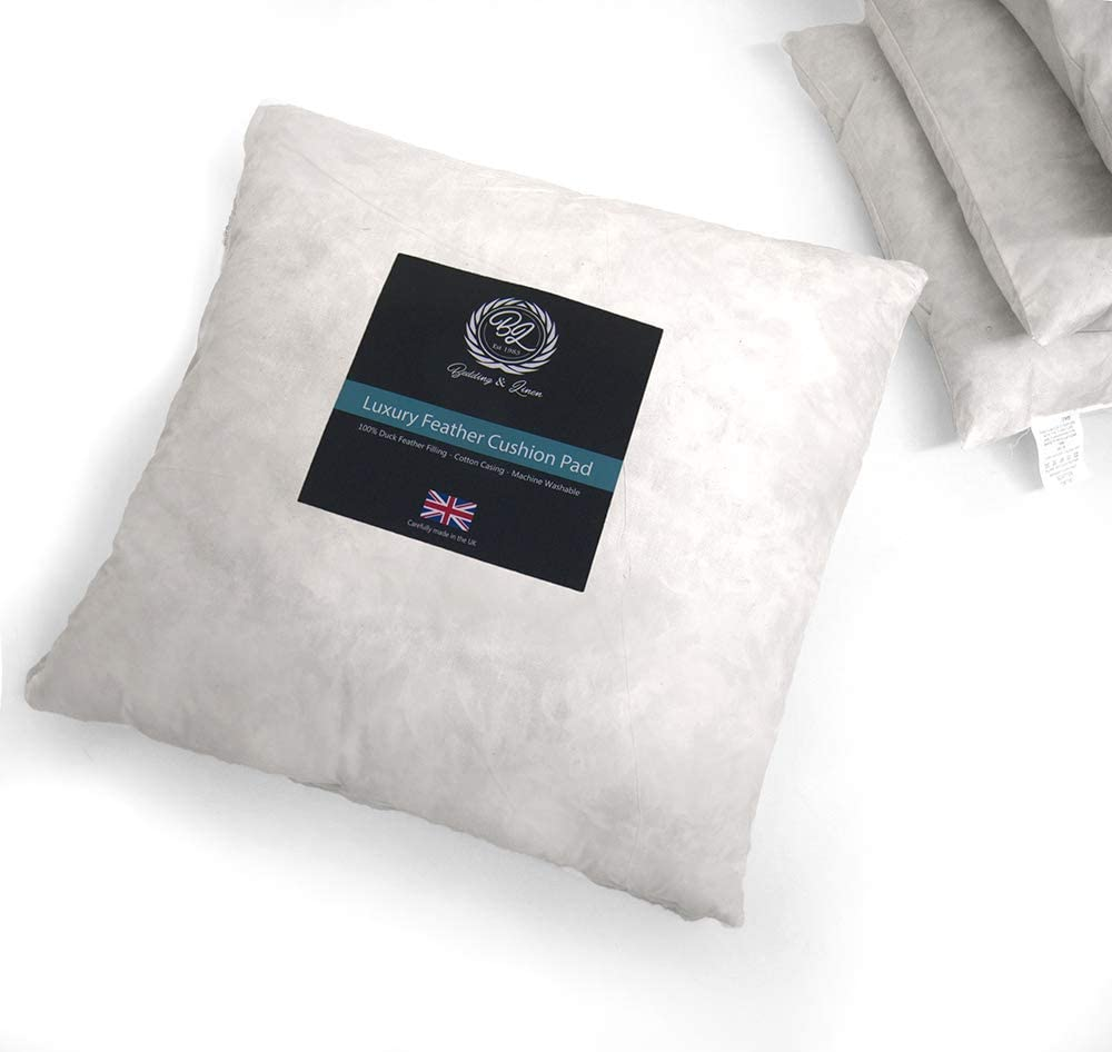 BRITISH HANDMADE EXTRA FILLED DUCK FEATHER CUSHION INNER PADS INSERT FILLERS Pack of 2, 20X20