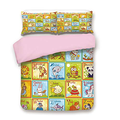 Pink Duvet Cover Set,Twin Size,Zoo Alphabet Design Colorful Style Funny Cartoon Animals Children Kids School,Decorative 3 Piece Bedding Set with 2 Pillow Sham,Best Gift For Girls Women,Multicolor