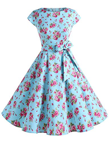 Dressystar DS1956 Women Vintage 1950s Retro Rockabilly Prom Dresses Cap-Sleeve XL Blue Red Flower