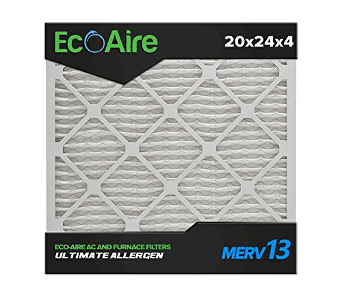 Eco-Aire 20x24x4 MERV 13, Pleated Air Filter, 20x24x4, Box of 6, Made in the USA