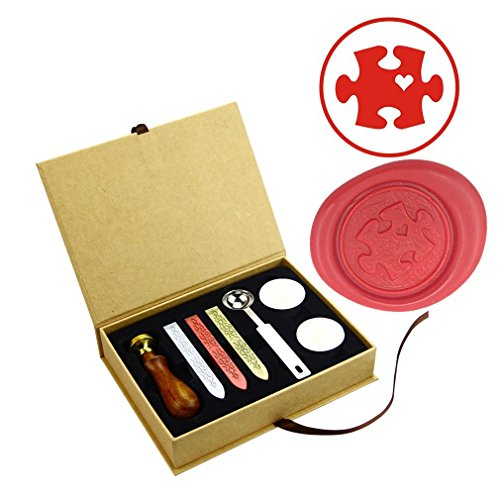 ZOVEE Puzzle Heart Wax Seal Stamp Rosewood Cooper Head Wedding Invitation Envelope Stamp with ()