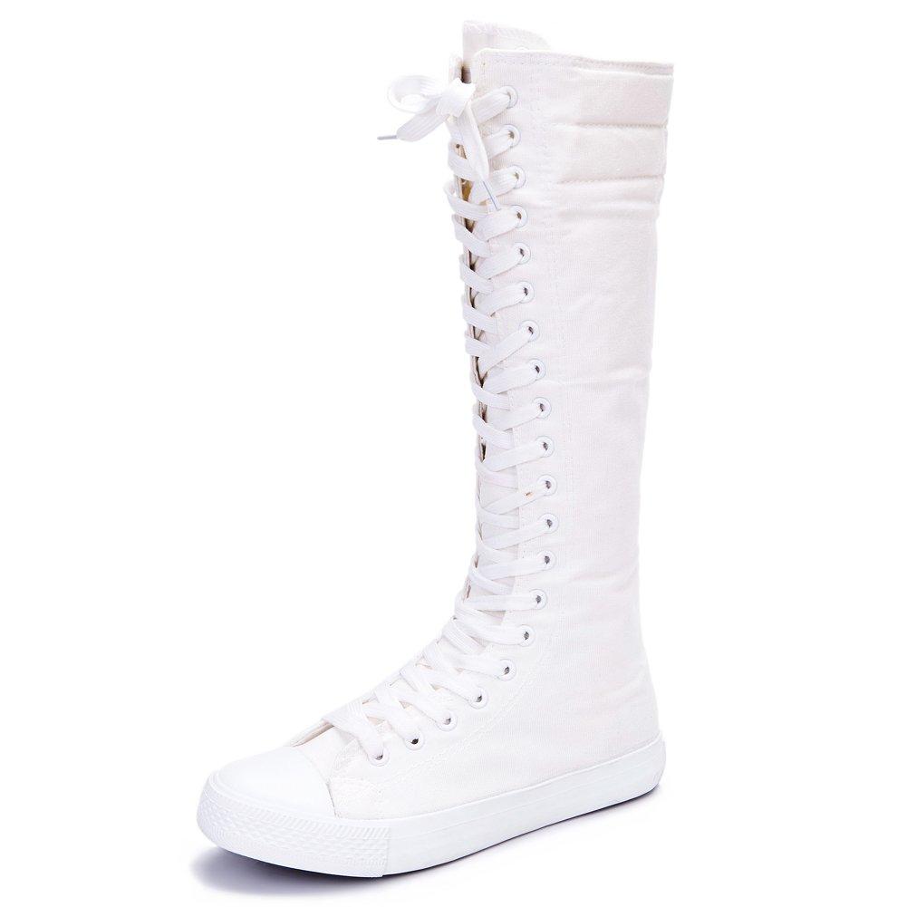 rismart Femme B06XJ3YMC8 Confortable Blanc Le Genou Dansant Haute Punk Dansant Mode Toile Bottes Blanc f343611 - automatisms.space