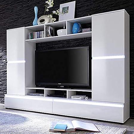 Nouvomeuble Ensemble Meuble Tv Blanc Laque Design Verania Amazon Fr Cuisine Maison