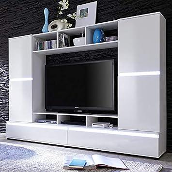Nouvomeuble Ensemble Meuble Tv Blanc Laque Design Verania Amazon Fr